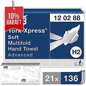 Falthandtuch Tork Advanced 120288, 2-lagig, TAD, weiß, 21 Bündel a 136 Tücher