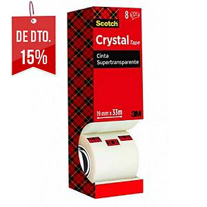 Pack 8 rolos de fita adesiva transparente Scotch Crystal - 19 mm x 33 m