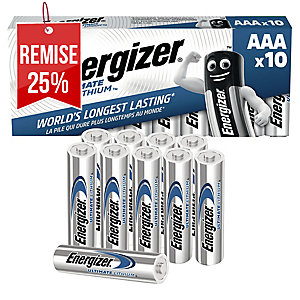 PACK DE 10 PILES L92/AAA 1.5V ENERGIZER ULTIMATE LITHIUM 634353