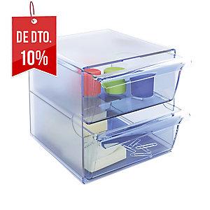 Módulo de organização cubo com 2 gavetas azul