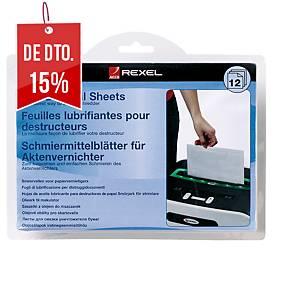 Pack de 12 folhas pré-lubrificadas para destruidora de papel Rexel