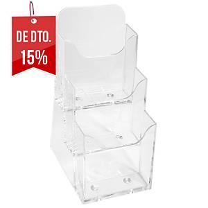Expositor de secretária Exacompta - 1/3 de A4 - 3 compartimentos - transparente