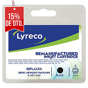 Cartucho de tinta LYRECO negro 300XL compatible con HP DyF D1560/D2345