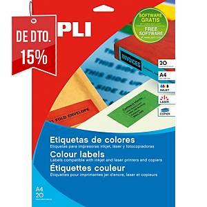 Caixa 480 etiquetas autocolantes Apli 1591 - 70x37 mm - amarelo
