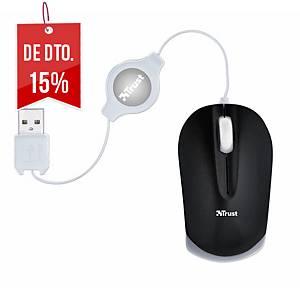 Rato com cabo retrátil Trust Nanou - tamanho micro - preto