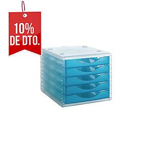 Módulo 5 cajones color azul translúcido ARCHIVO 2000  Dimensiones: 270x260x340mm