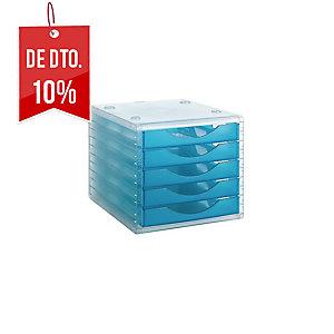 Módulo 5 gavetas cor azul translúcido ARCHIVO 2000  Dimensões:270x260x340mm
