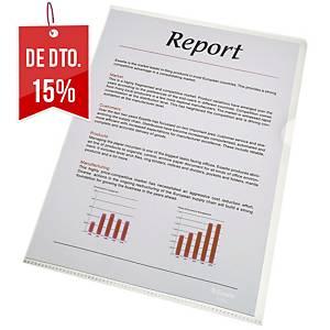 Pack 100 pastas ranhura folio Esselte - fólio - PVC liso - 110 μ - transparente