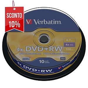DVD+RW Verbatim 4.7 GB 120 min spindle - conf. 10