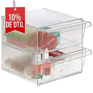 Mini módulo de organización Archivo 2000 - 2 cajones - cristal