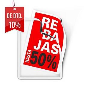 Pack com 2 bolsas adesivas porta-anúncios Magneto - A4 - PVC - prateado