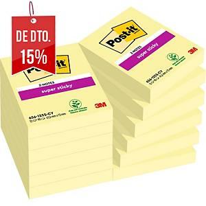 Pack 12 blocos 90 notas adesivas Post-it Super Sticky - amarelo