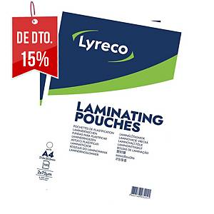Pack de 100 bolsas para plastificar Lyreco - A4 - 75 µ - mate