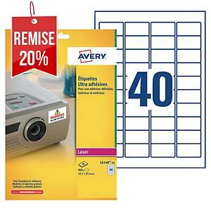 Etiquette ultra-adhésive Avery - L6140-20 - 45,7 x 25,4 mm - blanche - par 800