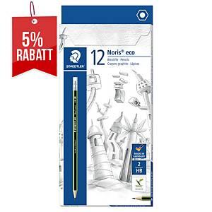 Bleistift Staedtler 182 Noris Eco, Härtegrad: HB, gn-swz lackierter Schaft, 12St