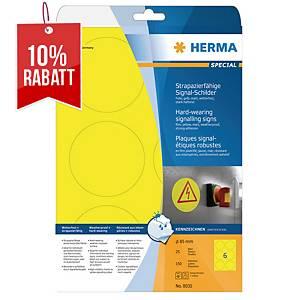 Folien-Etiketten Herma 8035 Signalschilder, Ø 85mm (LxB), gelb, 150St