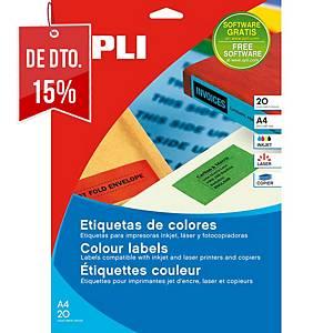 Caixa 480 etiquetas autocolantes Apli 1593 - 70x37 mm - vermelho