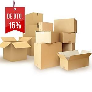Pack de 10 caixas de cartão kraft - Canal duplo - 400 x400 x400 mm