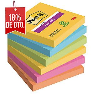 Pack de 6 blocks notas adhesivas Post-it Super Sticky río de Janeiro 76x76 mm