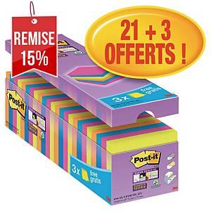 Notes Post-it Super Sticky - 76 x 76 mm - assortis - 24 blocs x 90 feuilles