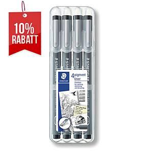 Fineliner Staedtler 308, Strichstärke: 0,3 - 0,7mm, schwarz, 4er Etui