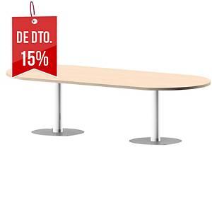 Mesa oval Ofitres - larg. 2000 mm - carvalho/branco