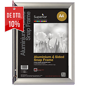 Marco de aluminio STEWART formato A4 com abertura por 4 lados cor prateado
