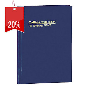 COLLINS 5500 FEINT RULED HARD COVER NOTE BOOK A5 168 PAGE - EACH