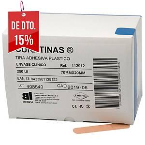 Caixa de 250 pensos rápidos BIMEDICA de plástico cor pele de 70 x 20 mm