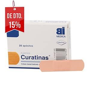 Caixa de 20 pensos rápidos BIMEDICA de plástico cor pele de 70 x 20 mm