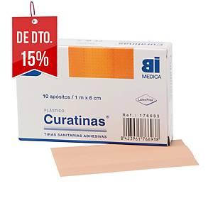 Caixa de 10 tiras adesivas BIMEDICA de plástico cor pele de 60 mm x 1m