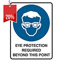 TRAFALGAR SELF-ADHESIVE  EYE PROTECTION REQUIRED  SIGN 180MM X 250MM - EACH