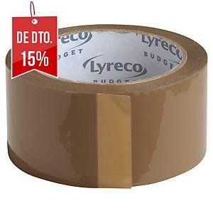 Pack de 6 fitas adesivas de embalagem Lyreco Budget - 50 mm x 66 m - castanho