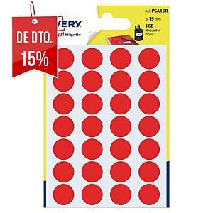 Saco de 168 autocolantes redondos Avery - Ø 15mm - vermelho
