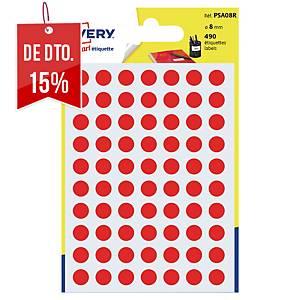 Saco de 490 autocolantes redondos Avery - Ø 8mm - vermelho