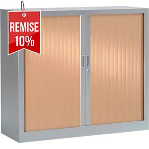 Armoire à rideaux monobloc Pierre Henry - 100 x 120 cm - alu/hêtre