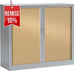Armoire à rideaux monobloc Pierre Henry - 100 x 120 cm - alu/chêne