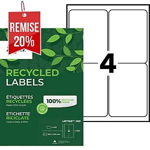 Etiquette adresse recyclée Avery - LR7169 - 99,1 x 139 mm - blanche - par 400
