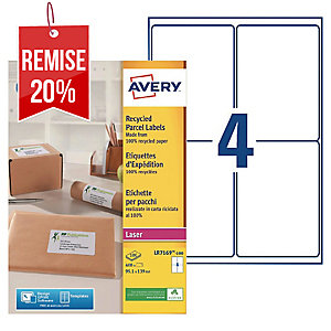 Boite 400 étiquettes d expedition recyclees laser Avery 99,1x139mm lr7169