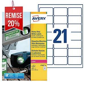 Etiquette ultra-résistante Avery - L7060-20 - 63,5 x 38,1 mm - blanche - par 420