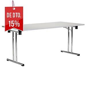 Mesa de catering dobrável - larg. 1600 mm - branco/alumínio