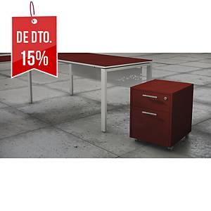 Módulo Ofitres Luxe - gaveta + arquivador - 460 x 600 mm - bordeaux