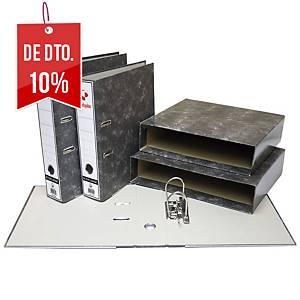 Caixa para pasta de arquivo Grafoplás - fólio - lombada 86 mm - cinza marmoreado