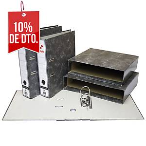 Cajetín archivador Grafoplás - folio - lomo 86 mm - gris jaspeado