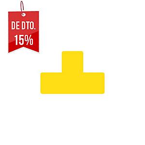 Pack de 10 etiquetas adesivas para chão TARIFOLD com forma T cor amarelo