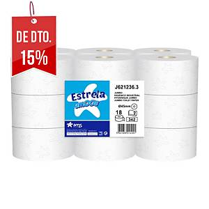 Pack de 18 rolos de papel higiénico Amoos - Folha dupla - 120 m