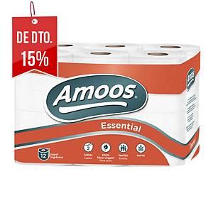 Pack de 12 rolos de papel higiénico Amoos - Folha dupla - 20 m