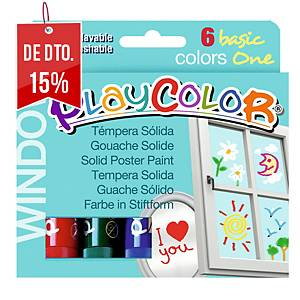 Pack de 6 têmperas sólidas PLAYCOLOR one window cores sortidas