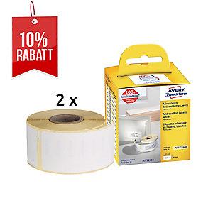 Rollenetiketten Avery Zweckform AS0722400 36x89 mm, weiß, 2 Rolle/520 Etiketten