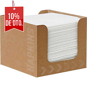 Pack de 50 servilletas blancas en dispensador. Dimensiones 200x 200